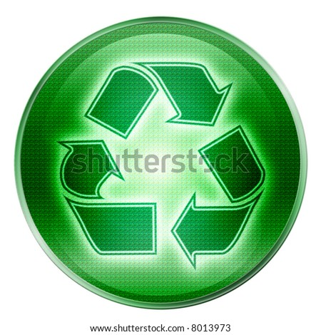 Recycling symbol icon green, isolated on white background. - stock photo