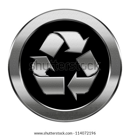 Recycling symbol icon silver, isolated on white background. - stock photo