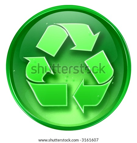 Recycling symbol icon. (With Clipping Path) - stock photo