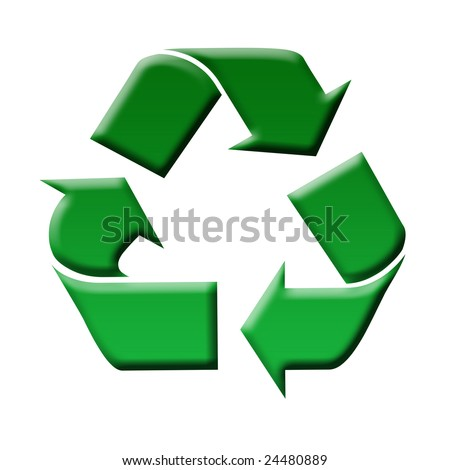 Recycling symbol of green color, on a white background. Illustration - stock photo