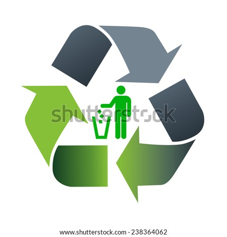 Recycling symbol. White background - stock photo