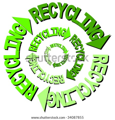 Recycling text curved arrows illustration