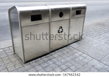 Recycling trash bins on the street - stock photo