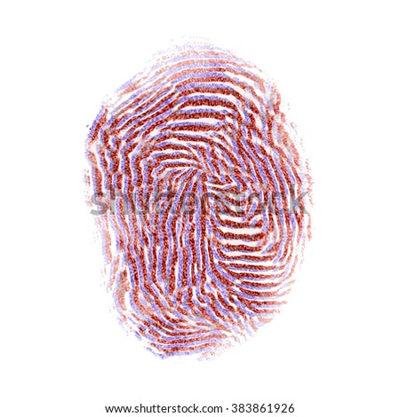 Red aand blue colored isolated fingerprint on white background