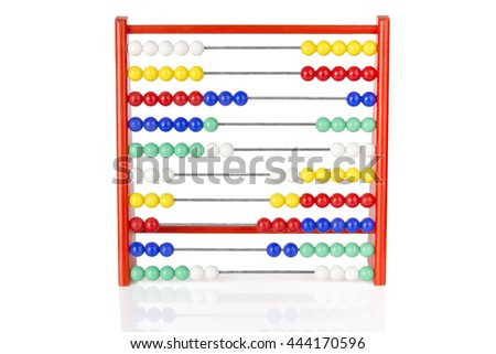 red abacus with multicolored balls on white background