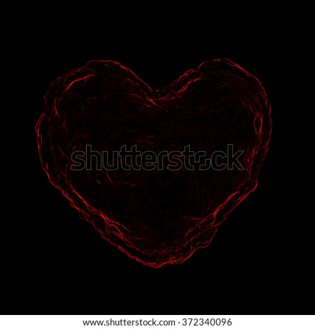 Red abstract art 3-D Heart black Background