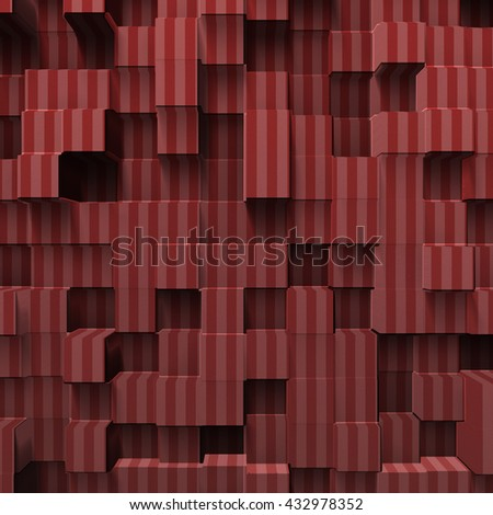 red abstract cubes, 3d illustration - stock photo