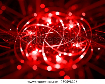 red abstract fantasy fractal lines background - stock photo