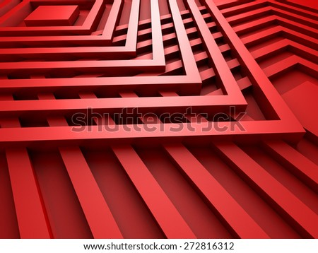 Red Abstract Squares Design Background. 3d Render Illustration - stock photo