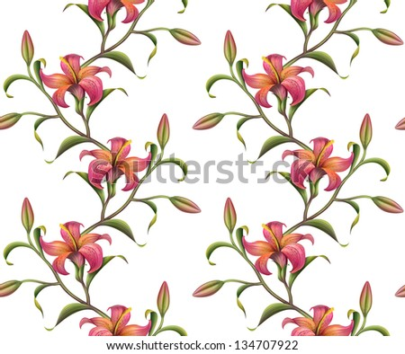 red abstract tropical lily seamless pattern isolated on white - stock photo