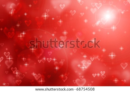 red abstract valentine background with hearts