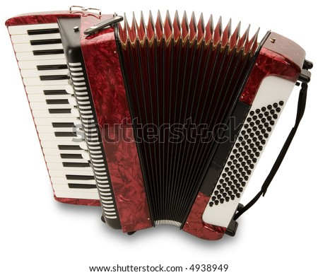 Red Accordion - isolated on white - stock photo