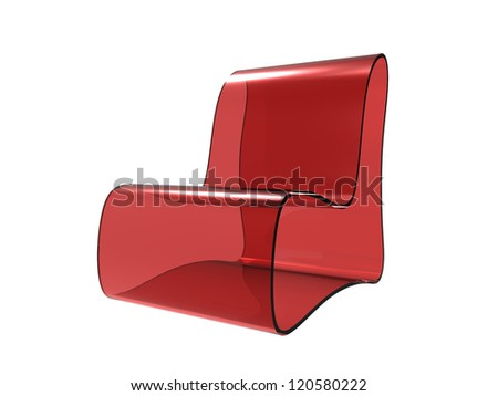 Red Acrylic Chair isolated on a white background - stock photo