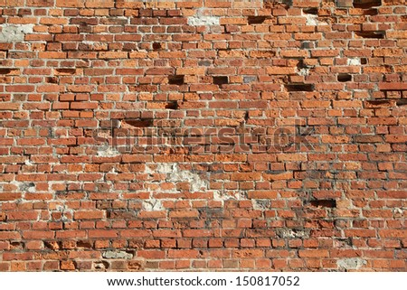 Red aged brick wall texture - Malbork castle, Poland