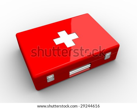 Red aid kit on white background.