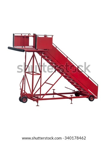Red aircraft passenger stair with white background for passengers to walk up the plane when aircraft was parked far from the terminal. - stock photo