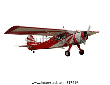 Red airplane, isolated - stock photo
