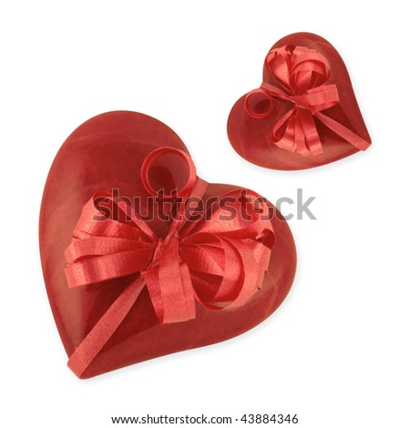 Red Alabaster heart tied with ribbon on white background