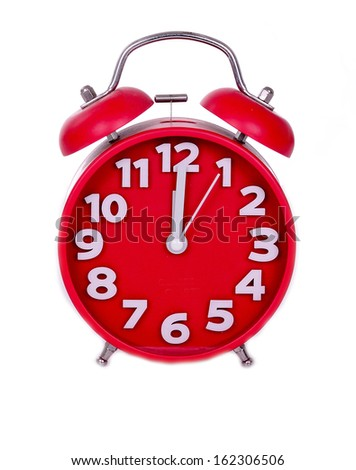 red alarm clock - stock photo