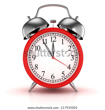 Red alarm clock 3d. Icon. Isolated on white - stock photo