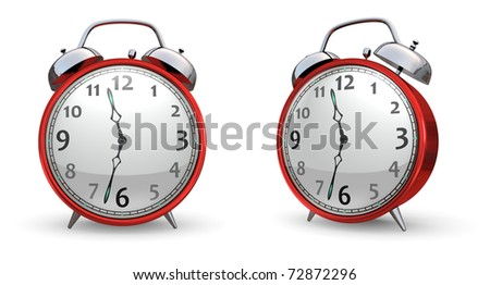 Red Alarm Clock - isolated on white
