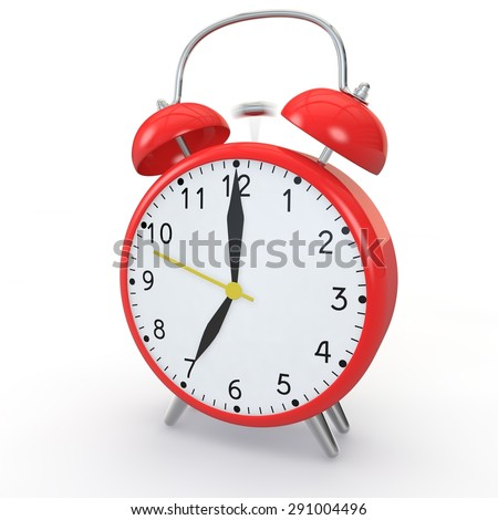 Red alarm clock on isolated background show time 7:00 - stock photo