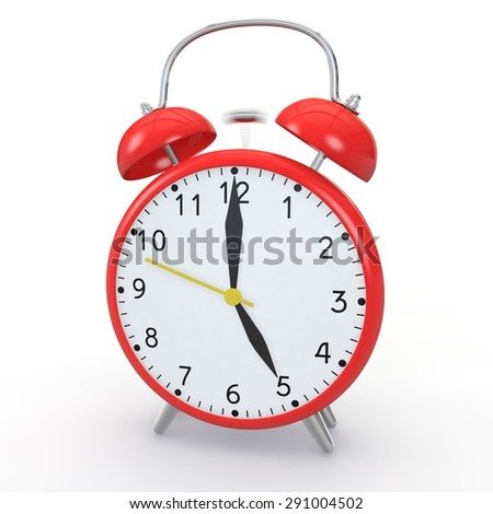 Red alarm clock on isolated background show time 17:00 - stock photo