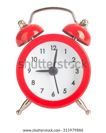 Red alarm clock on isolated white background - stock photo