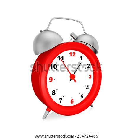 Red   alarm clock on  white background. - stock photo