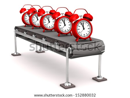 Red alarmers on the assembly line. White background. - stock photo