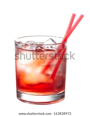 Red alcoholic cocktail with ice isolated on white background - stock photo