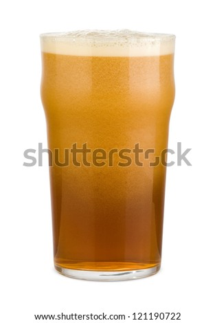 Red ale beer with avalanche foam in a pint glass - stock photo
