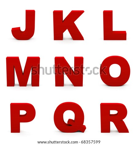 Red alphabet. Set of  letters isolated on white. - stock photo