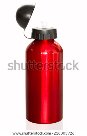 Red Aluminum bottle water isolated white background - stock photo