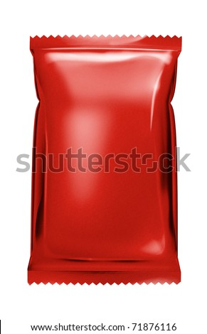 red aluminum foil bag package with zigzag cut - stock photo