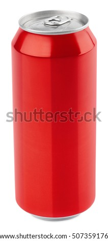 Red aluminum 500 ml beer can isolated on white background with clipping path
