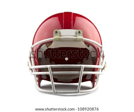 Red American football helmet isolated on a white background with detailed clipping path. - stock photo