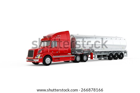 Red american truck with big cistern isolated on white background - stock photo