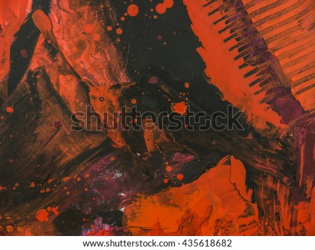 Red and black abstract texture, background of acrylic painting on canvas. Creative abstract hand painted background, wallpaper. Modern art. Contemporary art.