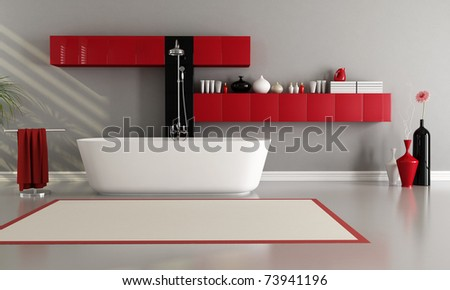 red and black bathroom with bathtub and shower