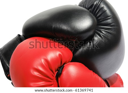 Red and black boxing-gloves on the white background. (isolated) - stock photo