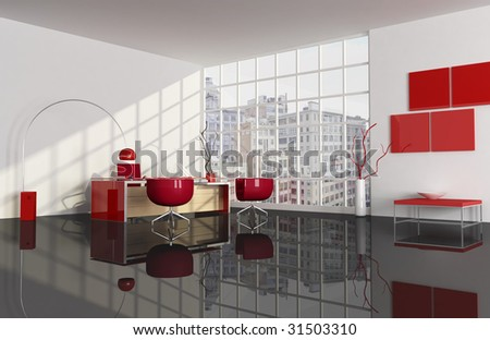 red and black city office - rendering the image on background is a my photo - stock photo