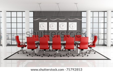 red and black conference room   - rendering - the image on background is a my photo new york 2008