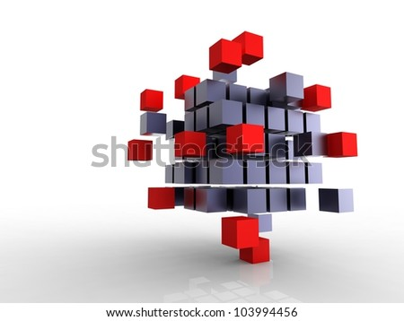 Red and black cubes(7).jpg - stock photo