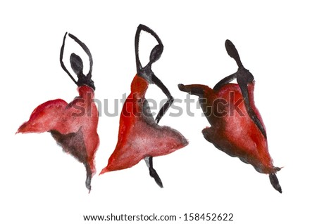 Red and black emotional  dance in the style of Carmen. Watercolor handmade art isolated - stock photo