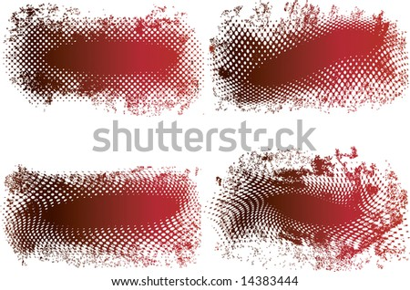 Red and black grunge banners made from halftone dots with space for text - stock photo
