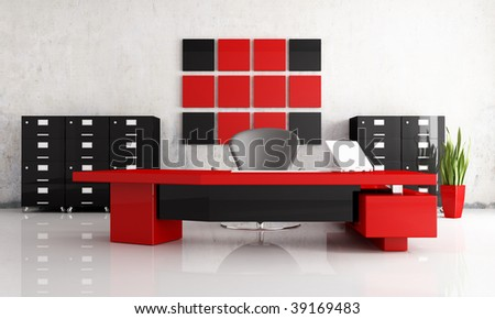 red and black modern office - rendering - stock photo