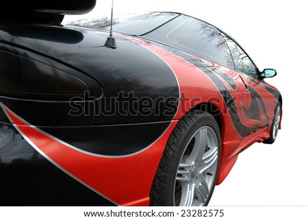 red and black modern sport-car isolated on white with clipping mask - stock photo