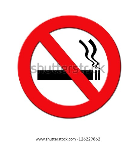 Red and black no smoking sign on white background - stock photo