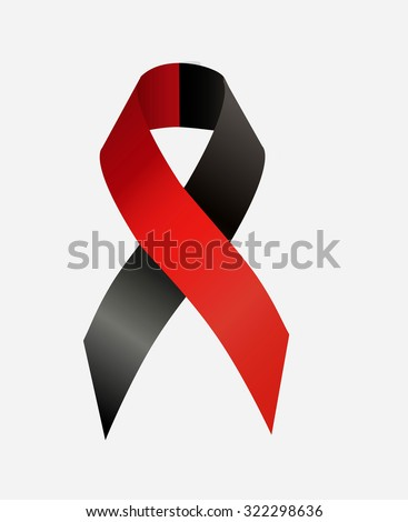 Red and black  ribbon awareness as symbol of atheist solidarity, Survivors of Homicide Victims awareness and solidarity with the right sectors and Ukrainian Insurgent Army - stock photo
